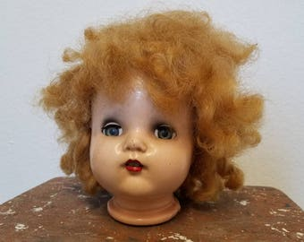 beauty school dropout - composition doll head, sleeper eyes & teeth, wild wig, fun piece for display or assemblage, creepy Halloween decor