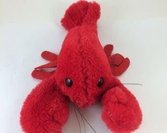 Lobster stuffed animal vintage 80s Dakin adorable crustacean whiskers fuzzy red sea creature