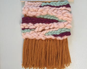 Mustard, Pink and Wine Roving Wall Hanging