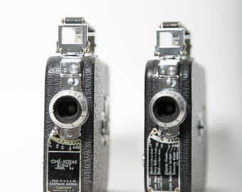 Cine Kodak Eight 8mm Movie Camera Model 60 Set of 2 1930s Vintage Photography Film Decor