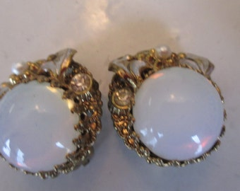 Vintage 1960's West Germany Clip On Faux Opal, Pearl, Rhinestone Earrings in Gold Setting, Gift For Her, West Germany Earrings, Gift For Her