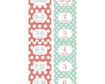 Rectangle Closet Clothes Dividers with Coral, Mint Green and Gold Dots 6 Piece Gift Set for Baby Girls Nursery RCD012
