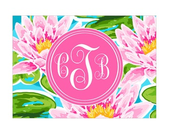 Digital Printable Personalized Monogram Notes with Coastal Nautical Tropical Water Lily in Pink CMO008