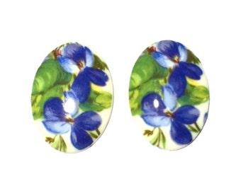 1 Vintage Glass Flower Cabochons, 30x22 mm