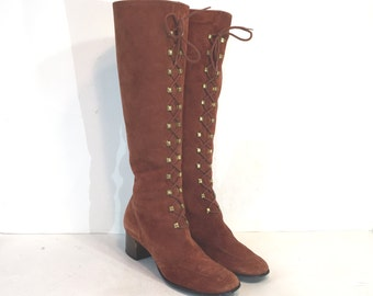 1960s winter brown suede lace up boots with fleece lining - size 7.5 N - 60s boho boots - gogo boots - 1960s lace-up boots - go go boots