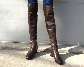 1960s Villon brown leather over the knee boots  - size 6.5 -  1960s thigh high boots - gogo boots-  1960s brown leather boots - go go boots