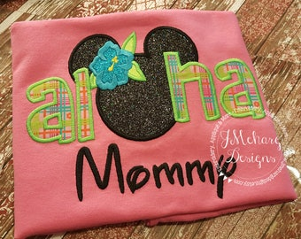 Aloha Custom embroidered Disney Inspired Vacation Shirts for the Family! 730 pink green 1