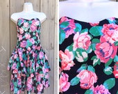 Vintage dress | 80s Robbie Bee rose floral print black strapless ruffle skirt dress