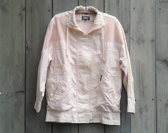 Vintage jacket   1980s Izze pastel pink cotton anorak jacket