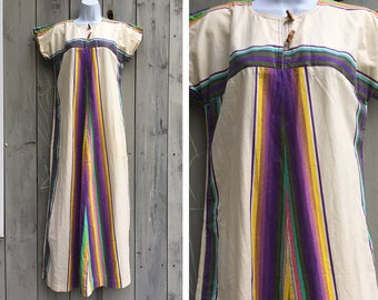Vintage dress | 1970s Evelyn Pearson cotton rainbow striped hostess maxi dress tunic caftan lounge dress - Sold as is