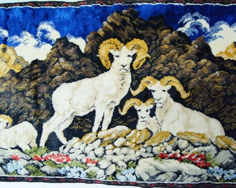 """Italian RAMS Tapestry Wall Hanging Woven Fabric ~19 x 38"""" Vintage Retro Home decor Craft"""