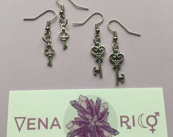Tiny Silver Key Earrings - Charms, Keys, Cute
