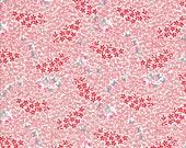 Feedsack Fabric - Small Floral Fabric -  Washington Street - Red Fabric - Pink Fabric