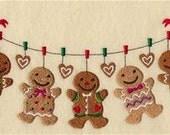 Gingerbread Cookies Clothesline Embroidered Towel | Flour Sack Towel | Linen Towel | Dish Towel | Kitchen Towel | Hand Towel