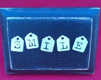 "Small Plaque ""SMILE"" Sign Wall Hanging Black Beige  Beveled Wood Wooden Inspirational Gift"