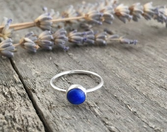 Lapis Lazuli Ring, Simple Sterling Silver Stacking Ring, Promise Ring,  Cobalt Blue Stone Ring, Deep Blue Lapis Jewelry