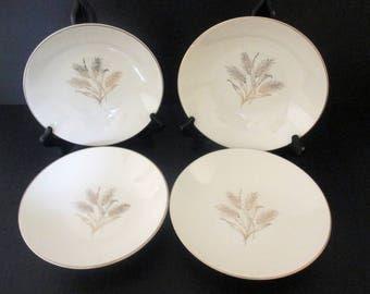 Edwin M Knowles - Accent Shape - Gold Wheat X 4009 Pattern - Freda Diamond Design - Set of 4 Coupe Soup Bowls
