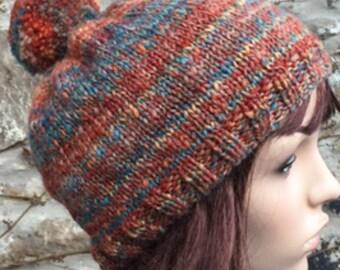 Hand Knitted Hat Hand Spun Yarn 'Fairisle' Shetland Wool