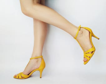 Yellow heel sandals, Yellow shoes, Leather sandals, Yellow t strap sandals, Heel sandals, Dress sandal, Summer sandals, Wedding sandals