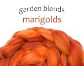 Blended Merino tops - spinning fiber - 100g/3.5oz - oranges - Garden Blends - MARIGOLDS