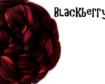 Blended roving - 23 micron Merino - Mulberry silk - 100g - 3.5oz - BLACKBERRY