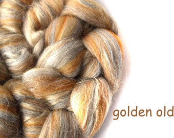 Blended top - Merino - Tussah silk - 100g/3.5oz - yellow - GOLDEN OLDIE