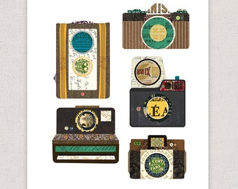 Vintage Camera Art Print - Art Collage Poster Print