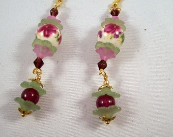 Flower Drop Earrings - Purple and Green Vintage Painted Beads - Vintage Style