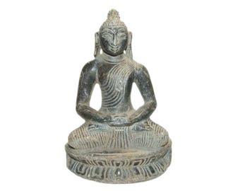 Vintage Hand Carved Charcoal Gray Soapstone Meditating Buddha Statue Figurine