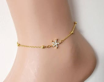Gold Plated Rhinestone Anklet, Starfish Gold Bracelet, Summer Elegant Anklet, Star Jewelry, Pool Beach Accessory, Gold Ankle Bracelet,Star