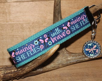 Motivational Quote wristlet key chain/ keyfobs/wristlet With brave wings she flies motivational quote ribbon webbing key fobs. Gifts for her