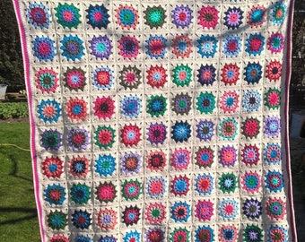 Crochet blanket II, colourful/off white crochet blanket, crochet granny square blanket, babyblanket