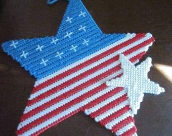 Patriotic Star Plastic Canvas Wall Hanging