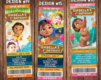Baby Moana Ticket Birthday Party Photo Invitations Invite Beach Luau Pool Swim - Printable
