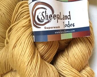 55% Off Superwash Merino Worsted Todos Sheepland Single Ply Paja Blancas Gold 235 Yards 3.5 Oz