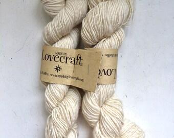 55% Off 2 Handspun Colonial Wool Sport DK Yarn 321 Yards Single Ply Natural Cream