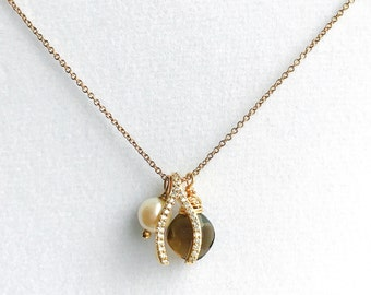 Wishbone Charm Freshwater Pearl Faceted Smoky Quartz 14k Gold Fill Charm Necklace