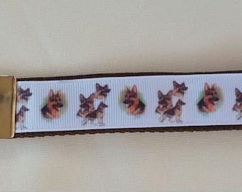 Handcrafted Great German Shepherd GSD Dogs Key Chain Wristlet NEW