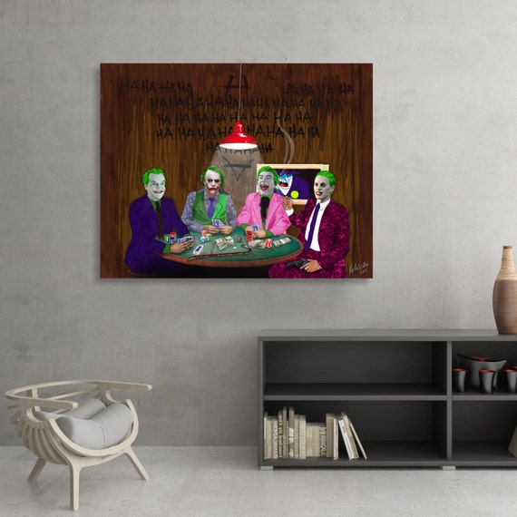 Poker with the Jokers - Batman themed illustration by Kyle Willis SIGNED Fine Art Print