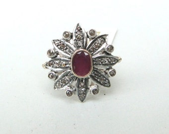 Victorian Diamond 14 K Gold,Sterling Silver, Natural Ruby & Diamond Ring