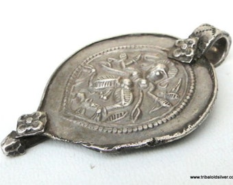Ethnic Tribal Old Silver Bheru 'Shiva' Pendant Amulet