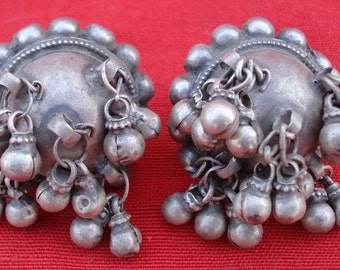 Ancient Bellydance Tribal Old Silver Earplug Earring In