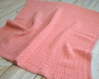 "Crocheted Baby Blanket//Coral// 26"" x 28"" Baby Gift//Ships 1 Business Day"