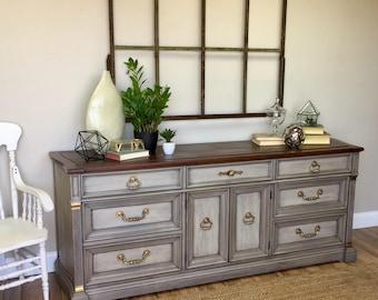 Gray Wood Dresser - Vintage Furniture - 9 Drawer Dresser - TV Credenza - Media Dresser - Distressed Furniture - Country Cottage Furniture