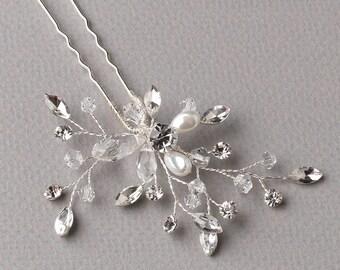 Floral Bridal Hair Pin, Crystal Hair Pin, Pearl Wedding Hair Pin, Pearl Hair Pin, Bridal Hair Accessory, Bride Hair Pin, Hair Pin ~TP-2826
