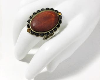 Large Oval Wooden Statement Ring Stretch Band Adjustable