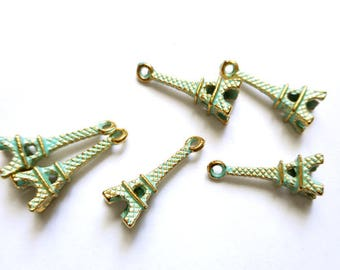 6 Patina Plated Eiffel Tower Charms - 30-3-3