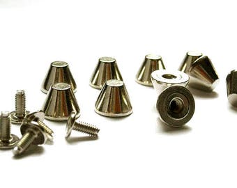 20 Sets Silver Flat Top Bullet Spikes - 20-S-12