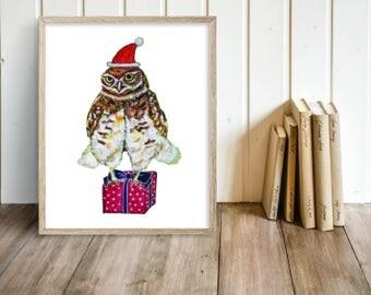 Santa Owl (Print), owl print, children illustration, animal print, nursery decor, art print, reproduction