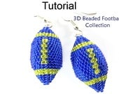 Beading Tutorial Pattern - 3D Beaded Football - Necklace, Earrings, Keychain & Christmas Ornament - Simple Bead Patterns - Football #20850